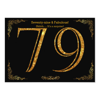 79th Birthday party,Gatsby styl,black gold glitter Card