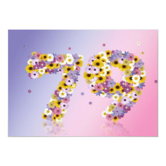 79th Birthday party, with flowered letters Custom Invitation