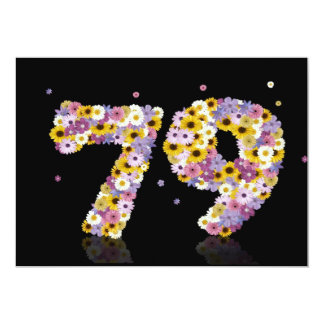 79th Birthday party, with flowered letters Custom Invites