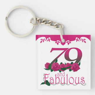 79th Birthday pink flower photo text keychain