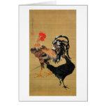 7. 大鶏雌雄図, 若冲 Couple of Chickens, Jakuchū Greeting Card