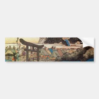 7. 藤沢宿, 広重 Fujisawa-juku, Hiroshige, Ukiyo-e Bumper Stickers