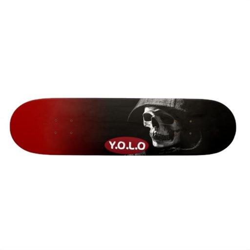 "7 3/4"" Yolo Skull Skateboard deck design"