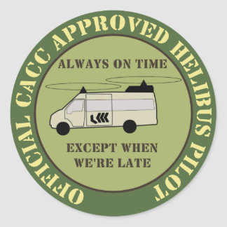 7.6cm Helibus Pilot Patch Classic Round Sticker