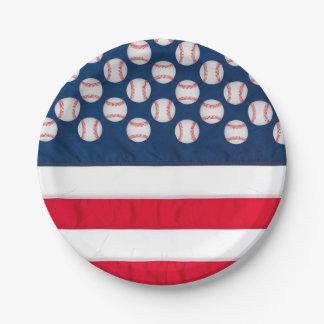 "7"" baseball & American flag paper plate"