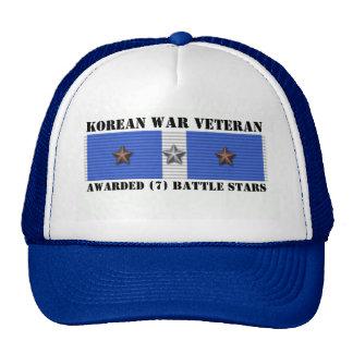 7 BATTLE STARS KOREAN WAR VETERAN TRUCKER HAT