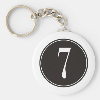 #7 Black Circle Basic Round Button Key Ring
