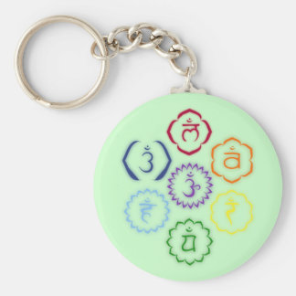 7 Chakras in a Circle Basic Round Button Key Ring