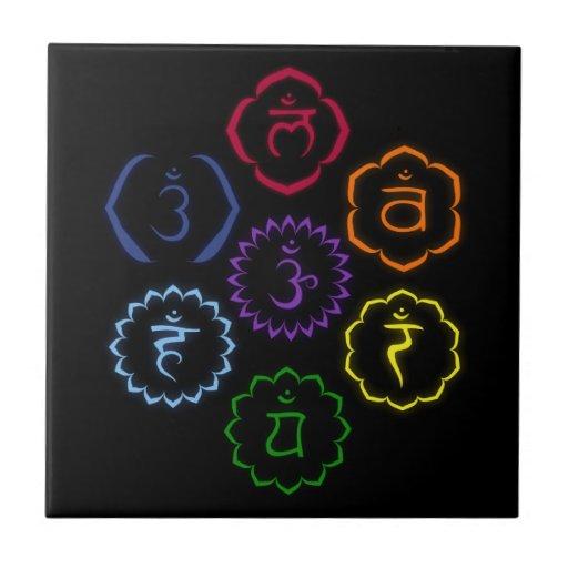 7 Chakras in Circle Ceramic Tiles