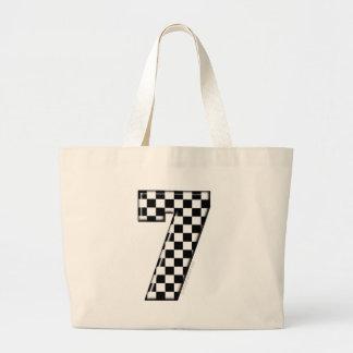 7 checkered auto racing number jumbo tote bag