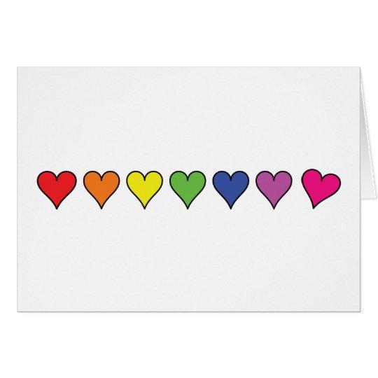 7 colour hearts card