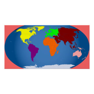 7 Continents Print Colorful Huge 3 ft by 1 1 2 ft