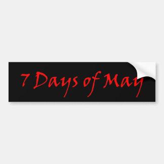7 days of may red logo bumper sticker car bumper sticker