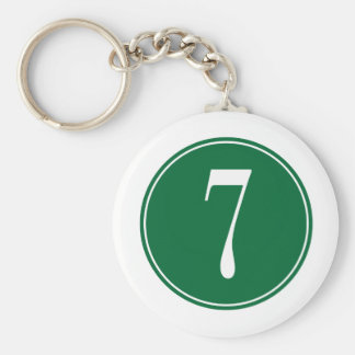 #7 Green Circle Key Ring