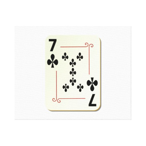 7 of Clubs Playing Card Canvas Print