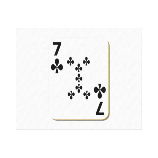 7 of Clubs Playing Card Stretched Canvas Prints