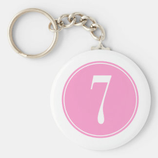 #7 Pink Circle Basic Round Button Key Ring
