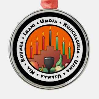 7 Principles of Kwanzaa Silver-Colored Round Decoration