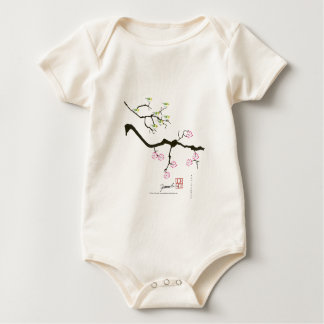 7 sakura blossoms with 7 birds, tony fernandes baby bodysuit
