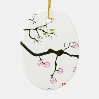7 sakura blossoms with 7 birds, tony fernandes christmas ornament