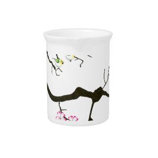 7 sakura blossoms with 7 birds, tony fernandes pitcher