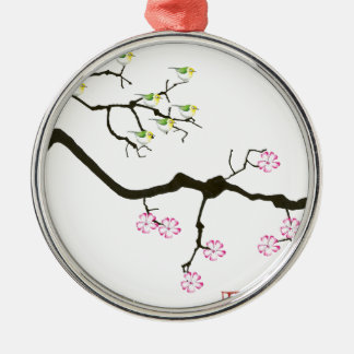 7 sakura blossoms with 7 birds, tony fernandes Silver-Colored round decoration
