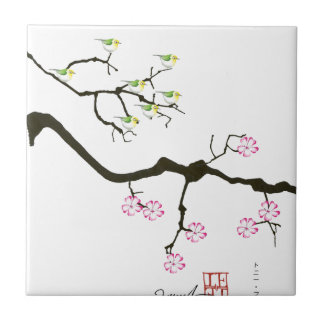 7 sakura blossoms with 7 birds, tony fernandes small square tile