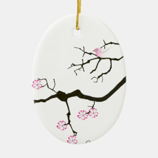 7 sakura blossoms with pink bird, tony fernandes ceramic oval decoration