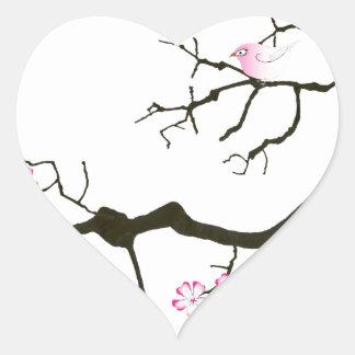 7 sakura blossoms with pink bird, tony fernandes heart sticker