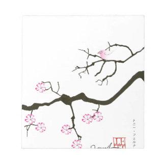 7 sakura blossoms with pink bird, tony fernandes notepad
