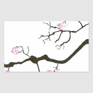 7 sakura blossoms with pink bird, tony fernandes rectangular sticker