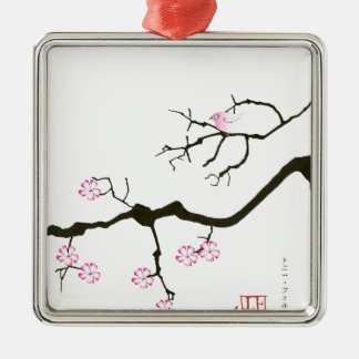 7 sakura blossoms with pink bird, tony fernandes Silver-Colored square decoration