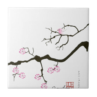 7 sakura blossoms with pink bird, tony fernandes small square tile