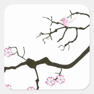 7 sakura blossoms with pink bird, tony fernandes square sticker