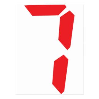7 seven  red alarm clock digital number postcard