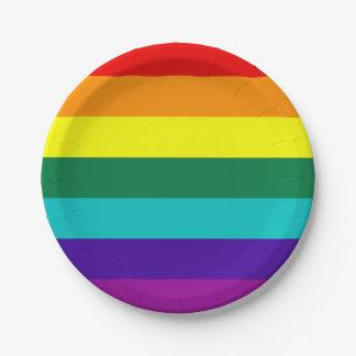 7 Stripes Rainbow Pride Flag Paper Plate
