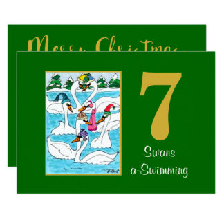 7 Swans a Swimming Cute Animals Custom Christmas Card