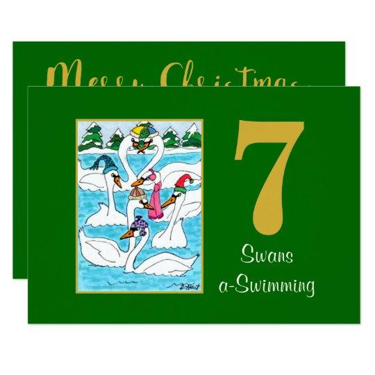 7 Swans a Swimming Cute Animals Custom Christmas