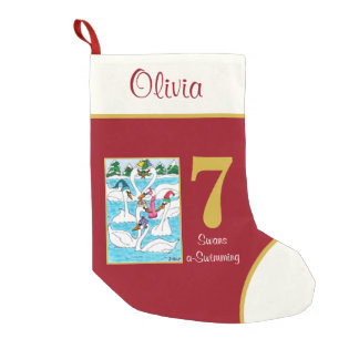 7 Swans a Swimming Cute Animals Custom Name Small Christmas Stocking