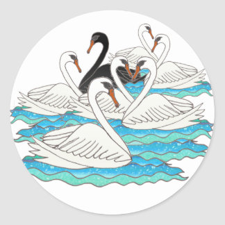 7 Swans aSwimming Round Sticker