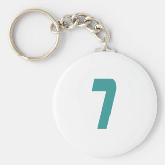 #7 Teal Bold Basic Round Button Key Ring