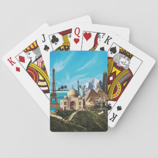 7 wonders travel collage playing cards