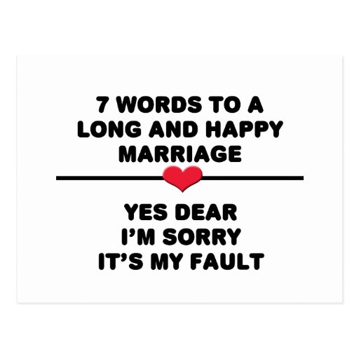 7 Words For A Long and Happy Marriage Post Card