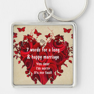 7 Words For A Long Marriage & Happy Marriage Silver-Colored Square Key Ring