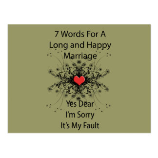 7 Words For A Long Marriage Postcard