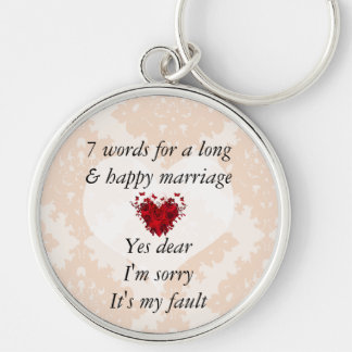 7 Words To A Long Marriage & Happy Marriage Silver-Colored Round Key Ring