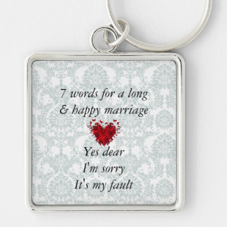 7 Words To A Long Marriage & Happy Marriage Silver-Colored Square Key Ring