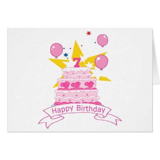 7 Year Old Birthday Cake Card