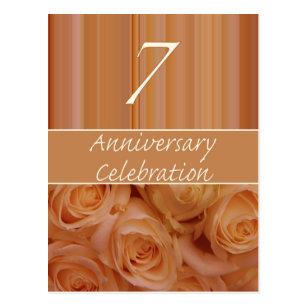 Celebrate 7th wedding anniversary postcards zazzle uk 7th anniversary rose invitation postcard stopboris Gallery