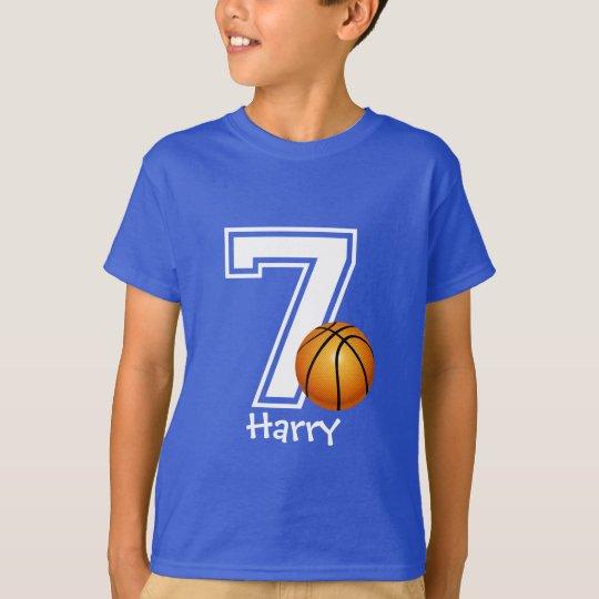 7th Birthday boy basketball personalised-2 T-Shirt
